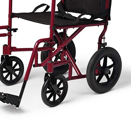 Medline Lightweight Transport Wheelchair with Handbrakes, Folding Transport Chair for Adults has 12 inch Wheels, Red - Spirit Mobility