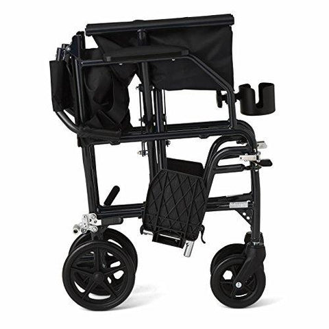 "Medline Ultralight Transport Wheelchair with 19"" Wide Seat, Folding Transport Chair with Permanent Desk-Length Arms - Spirit Mobility"