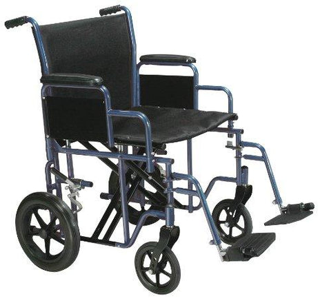Drive Medical Bariatric Heavy Duty Transport Wheelchair with Swing-Away Footrest, Blue, 22 Inch - Spirit Mobility