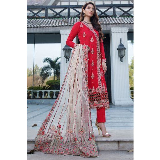 2453-REDICAL-RED EMBROIDERED LAWN UNSTITCHED