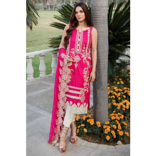 2451-HOT-PINK EMBROIDERED LAWN UNSTITCHED