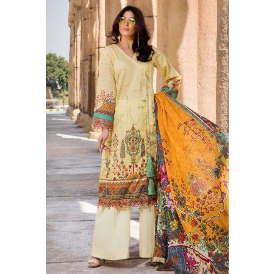 2533-LEMON-CHIFFON DIGITAL PRINTED LAWN UNSTITCHED