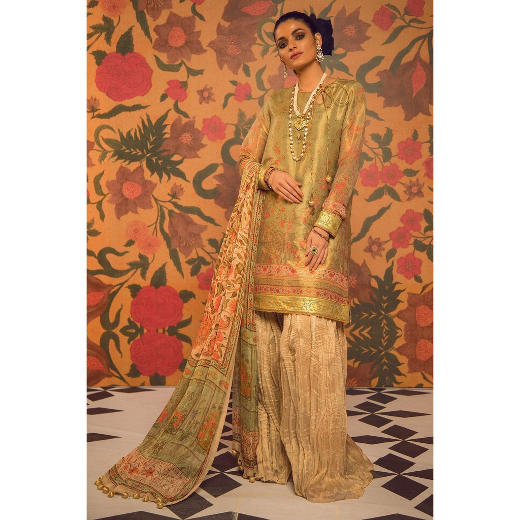 2 Piece Printed Cotton Zarri Suit with Tissue Silk Dupatta sheikhnstyle