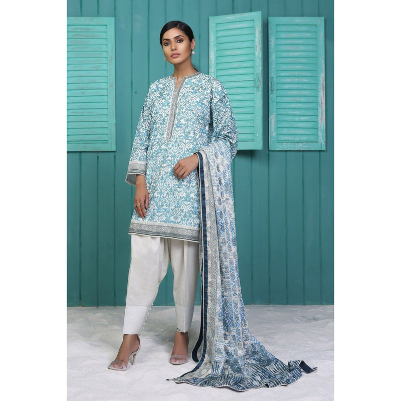 2 Piece Printed Suit with Jacquard Net Dupatta sheikhnstyle