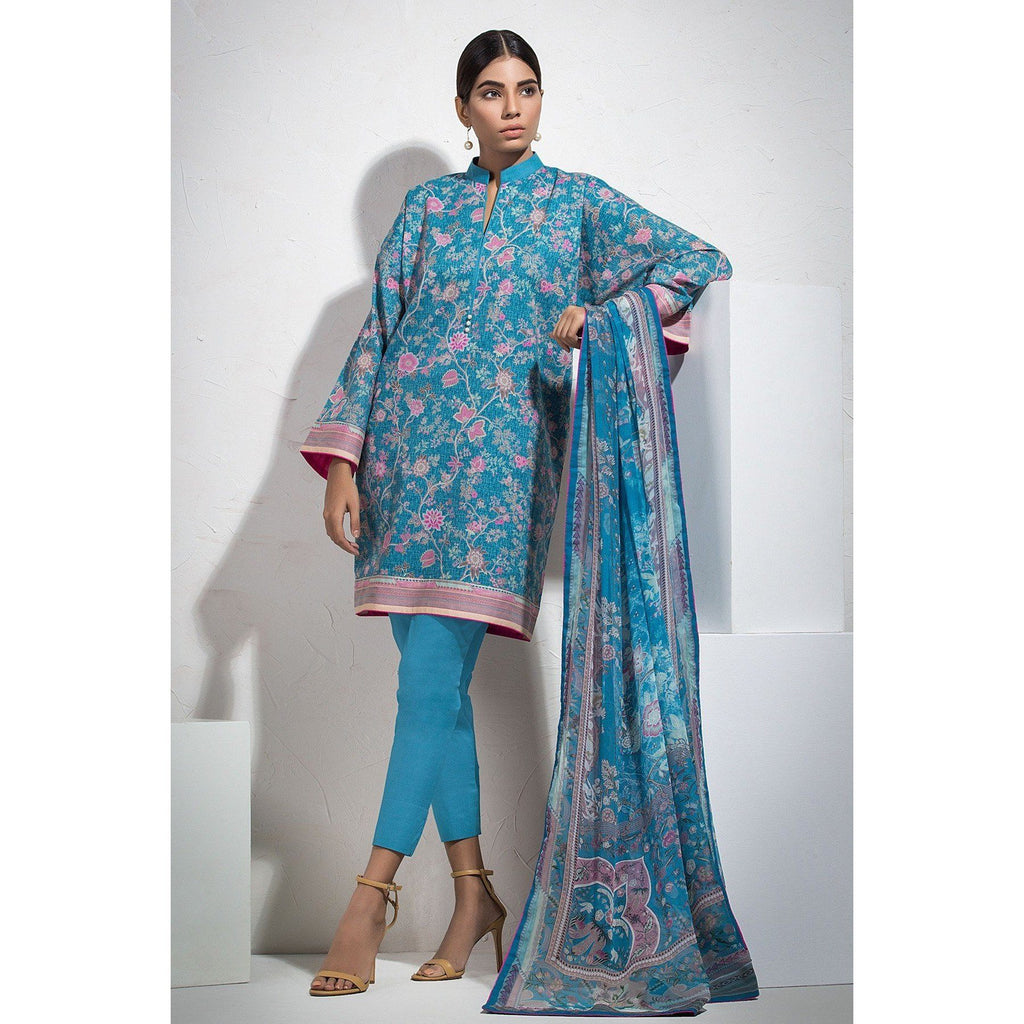 2 Piece Printed Suit with Printed Chiffon Dupatta sheikhnstyle