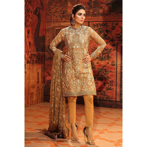 3 Piece Embroidered Cotton Net Suit with Chiffon Dupatta sheikhnstyle