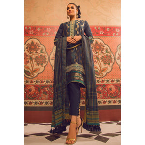 3 Piece Embroidered Jacquard Suit with Cotton Silk Dupatta SheikhInStyle