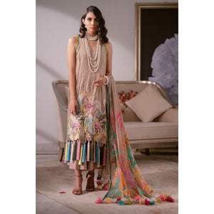 3 Piece Embroidered Suit with Chiffon Dupatta sheikhnstyle