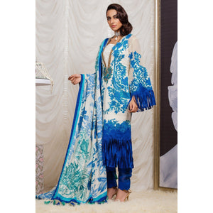 3 Piece Embroidered Suit with Cotton Net Dupatta sheikhnstyle