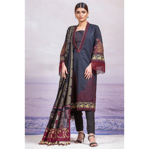 3 Piece Embroidered Suit with Fancy Dupatta sheikhnstyle