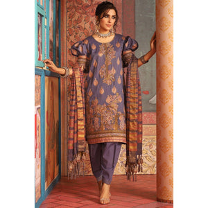 3 Piece Embroidered Suit with Jacquard Dupatta sheikhnstyle