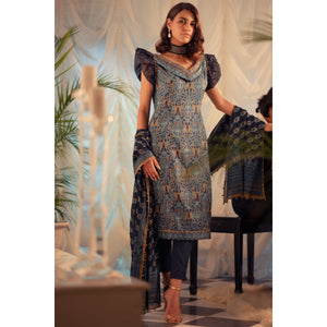 3 Piece Embroidered Suit with Printed Voile Dupatta sheikhnstyle