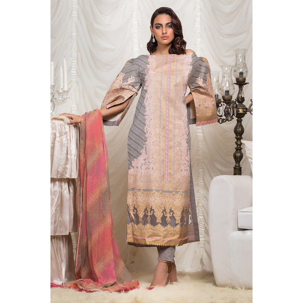 3 Piece Printed Suit with Chiffon Dupatta sheikhnstyle