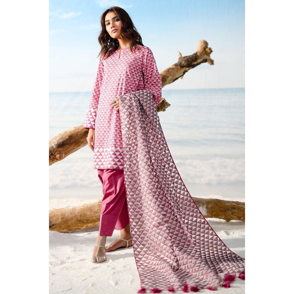 3 Piece Printed Suit with Jacquard Dupatta sheikhnstyle
