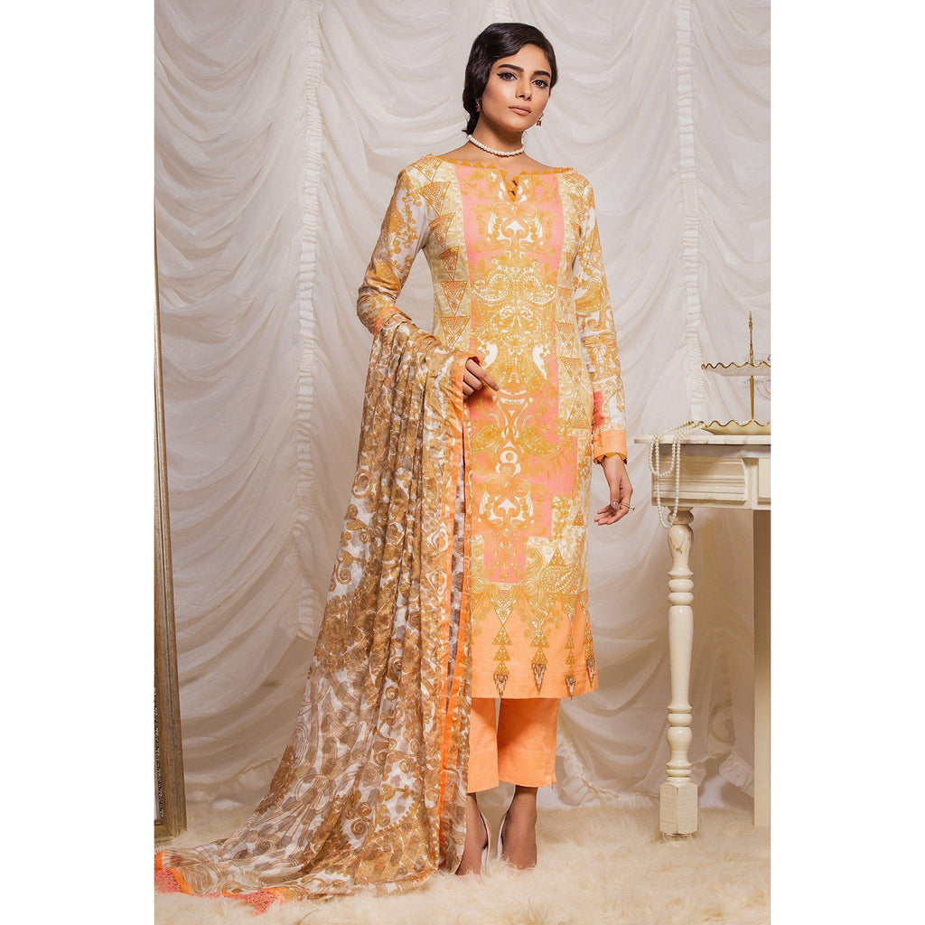 3 Piece Printed Suit with Jacquard Net Dupatta sheikhnstyle