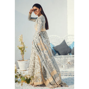 3 Piece Printed Suit with Yoke & Lawn Dupatta sheikhnstyle