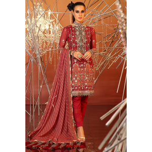 3 Piece Embroidered Suit With Printed Chiffon Dupatta