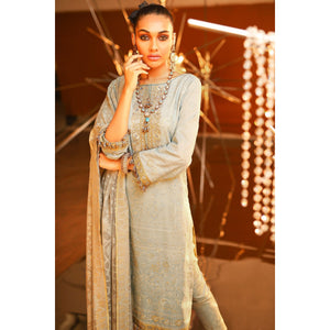 2 Piece Embroidered Suit With Burnout Dupatta