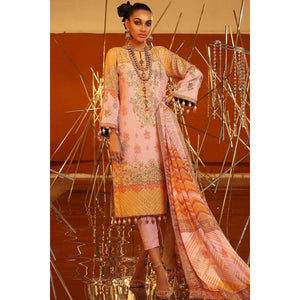 3 Piece Embroidered Suit With Digital Silk Dupatta