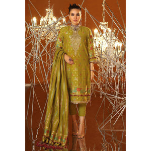 3 Piece Embroidered Suit With Jacquard Woven Dupatta