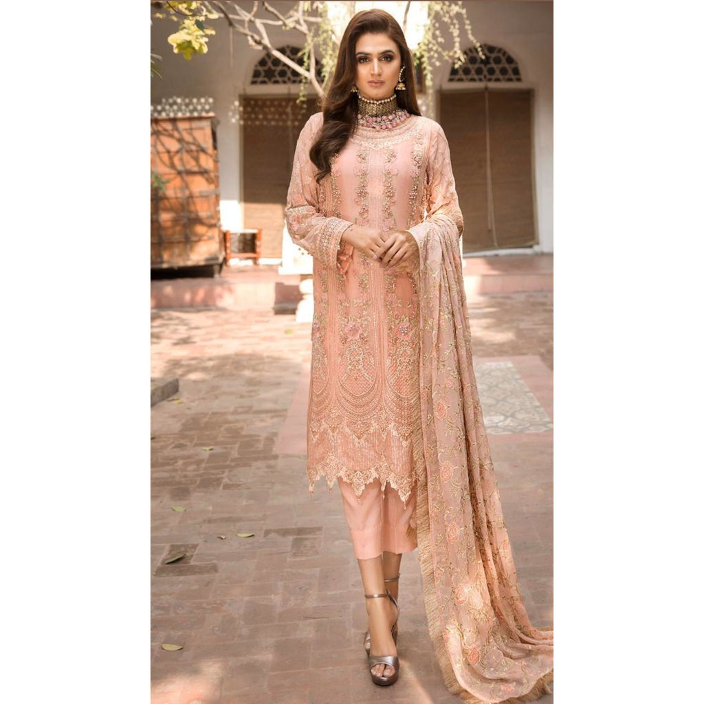 2347-PEACH-FLORAL EMBROIDERED CRINKLE CHIFFON UNSTITCHED