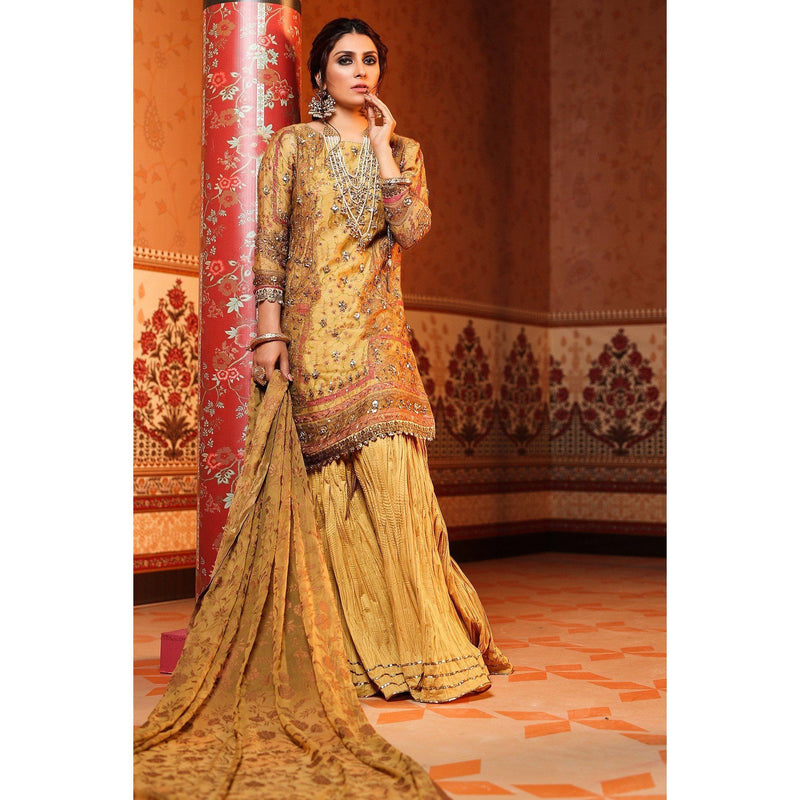 Cotton Net Suit with Chiffon Dupatta-Yellow sheikhnstyle