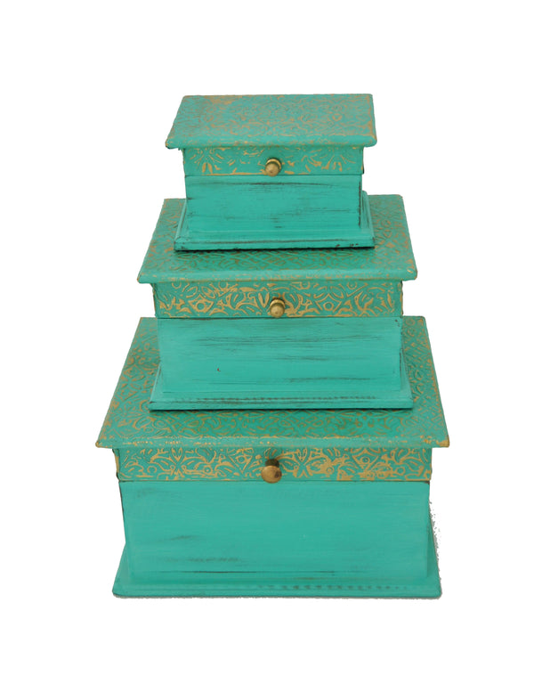 EMBOSSED JEWEL BOX SET OF 3