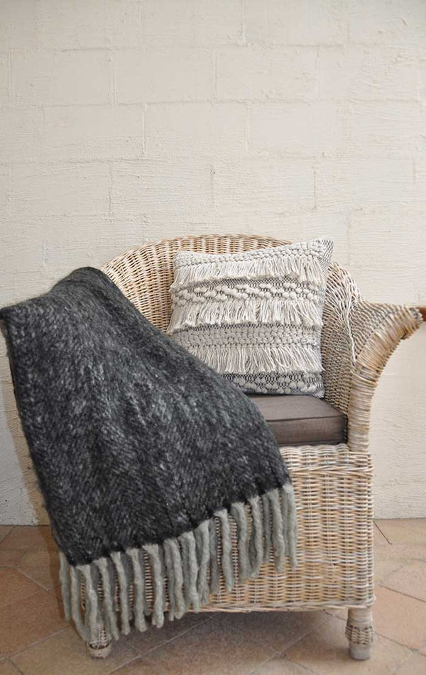 HUMIDITY FLUFFY THROW - BLACK/GREY
