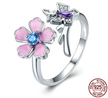 Load image into Gallery viewer, Love of Butterfly Pink Flower Open Rings