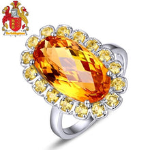 Load image into Gallery viewer, Unplated 14k White Gold 5.90ct Oval Flawless IF Citrine 0.77ct Yellow Sapphires Engagement Ring