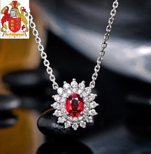 Load image into Gallery viewer, Natural Red Ruby Pendant Chain 14K White Gold with 0.33ct H SI Diamonds Necklace