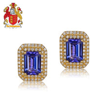 Load image into Gallery viewer, Natural 2.41ct Emerald Cut Tanzanite Pave Halo H SI Diamond Solid 14kt Yellow Gold Earrings