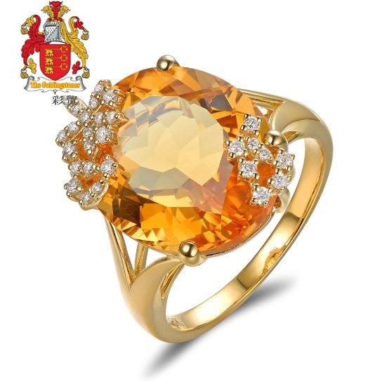 14K Yellow Gold 10.19ct Natural Citrine 0.18ct Pave Diamond Engagement Ring