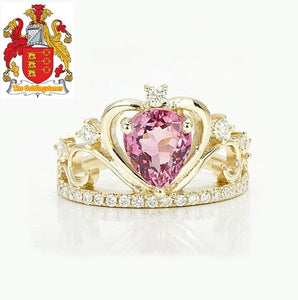 Unique Classic Pink Tourmaline Diamond 14ct Yellow Gold Engagement Crown Ring