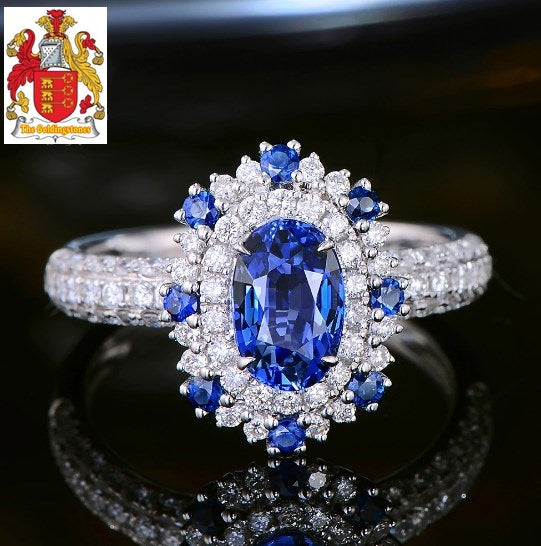 1.57ct Natural Sapphire Ring with Halo Diamonds 18kt White Gold