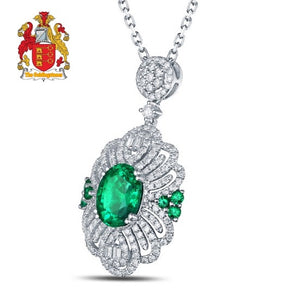 Classical Engagement Pendant 1.84ct Natural Emearld & Diamonds 18K/Au750