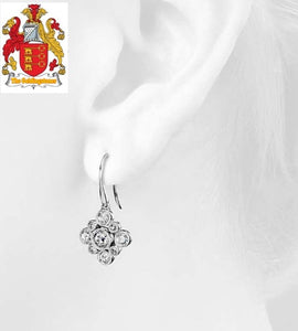 18k White Gold Diamond Women Dangle Earrings