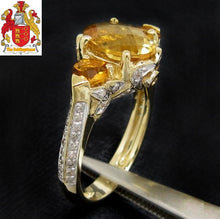 Load image into Gallery viewer, 14k Yellow Gold 1.96ct Natural Citrine & Diamond Ring Three stones Engagment Ring