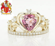 Load image into Gallery viewer, Unique Classic Pink Tourmaline Diamond 14ct Yellow Gold Engagement Crown Ring