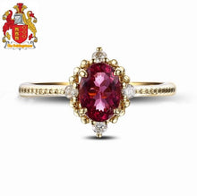 Load image into Gallery viewer, 18k Yellow Gold Natural 1.30ct Pink Tourmaline Full Cut Diamond Engagement Ring