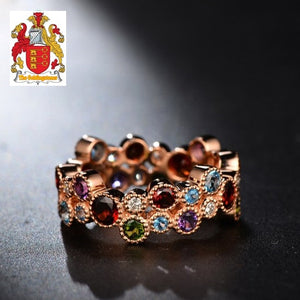 4.8ct Garnet  Amethyst Topaz and Tourmaline Multi- Diamond 18K Rose Gold Ring