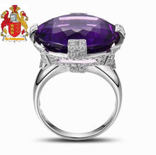 Load image into Gallery viewer, 20.08ct Round Flawless Purple Amethyst 14k Gold Gorgeous Diamond Ring