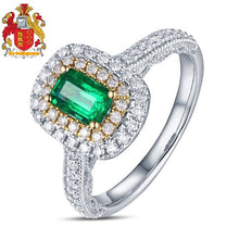 Load image into Gallery viewer, Antique 14ct Multi-Tone Gold 1.08ctw Natural Emerald H SI Diamond Milgrain Engagement Wedding Ring