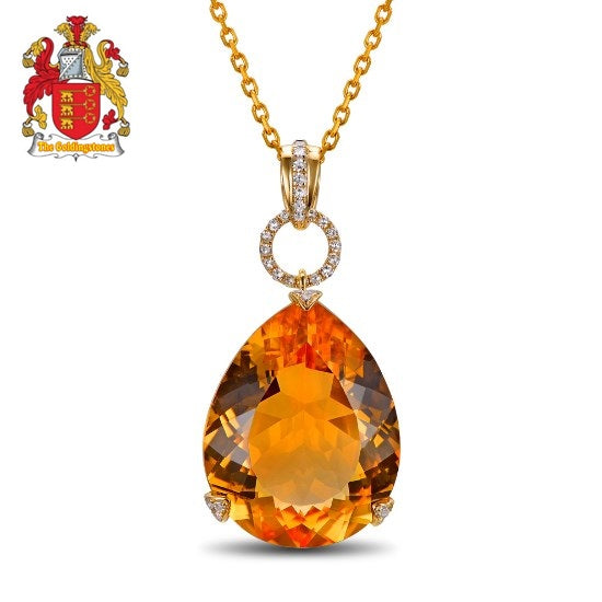 12.87ct Natural Citrine & 0.13ct H SI1 Diamonds 18K Yellow Gold Engagament Pendant
