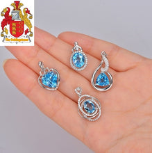 Load image into Gallery viewer, Natural Heart Shape Blue Topaz 925 Sterling Silver Pendant