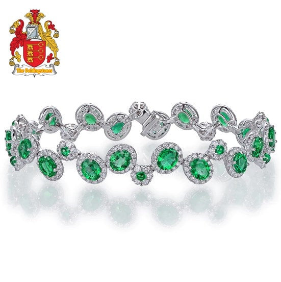 6.35ctw Natural Emeralds Bracelet, H SI Full Cut Diamond 18kt Gold Gemstone