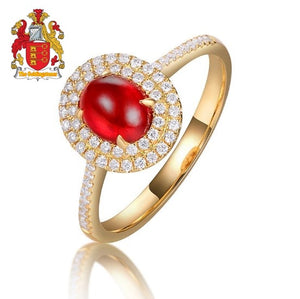 Claw Prongs 1.21ct Natural Cabochon Cut Ruby Halo Diamond 14kt Yellow Gold Engagement Wedding Ring