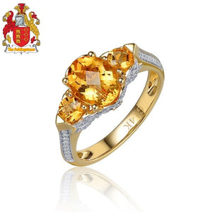 14k Yellow Gold 1.96ct Natural Citrine & Diamond Ring Three stones Engagment Ring