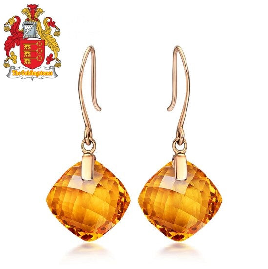 8.81ct Natural Cushion Cut Citrine Or Amethyst 14K Yellow Gold Drop Earrings For Women