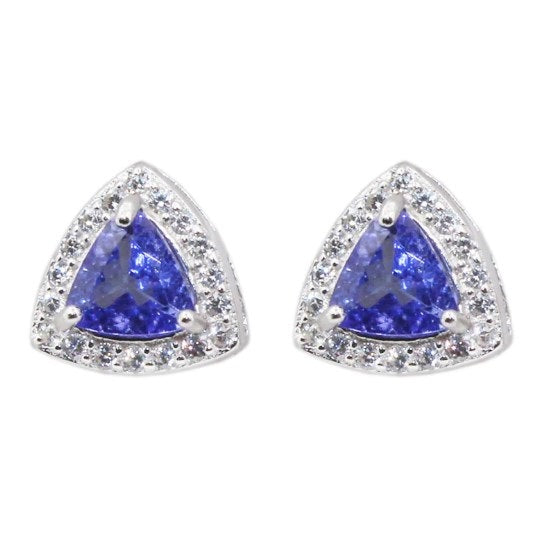 100% natural VVS Trillion cut tanzanite stud earrings